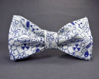 Chemistry bowtie, Physics bowtie, Science bowtie, laboratory bowtie, scientist, teacher, doodles, graph paper, chemistry necktie