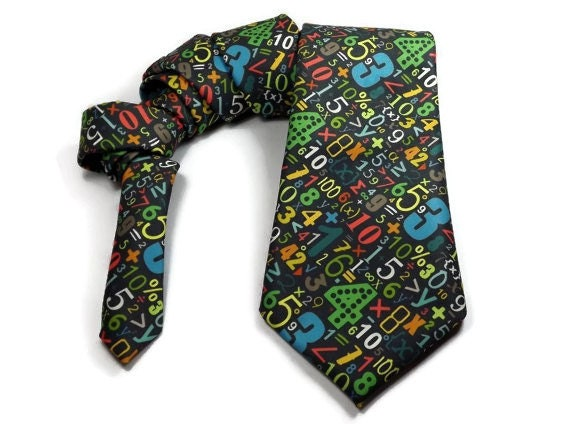 mathematical necktie mens tie math tie numbers by thewoolfish