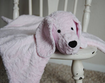Blanket Buddy Pup in Light Pink Paisley Embossed Minky with Pink Chevron Ears