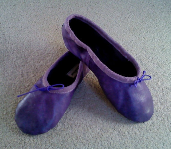 Purple Leather Ballet Shoes Full sole Adult sizes