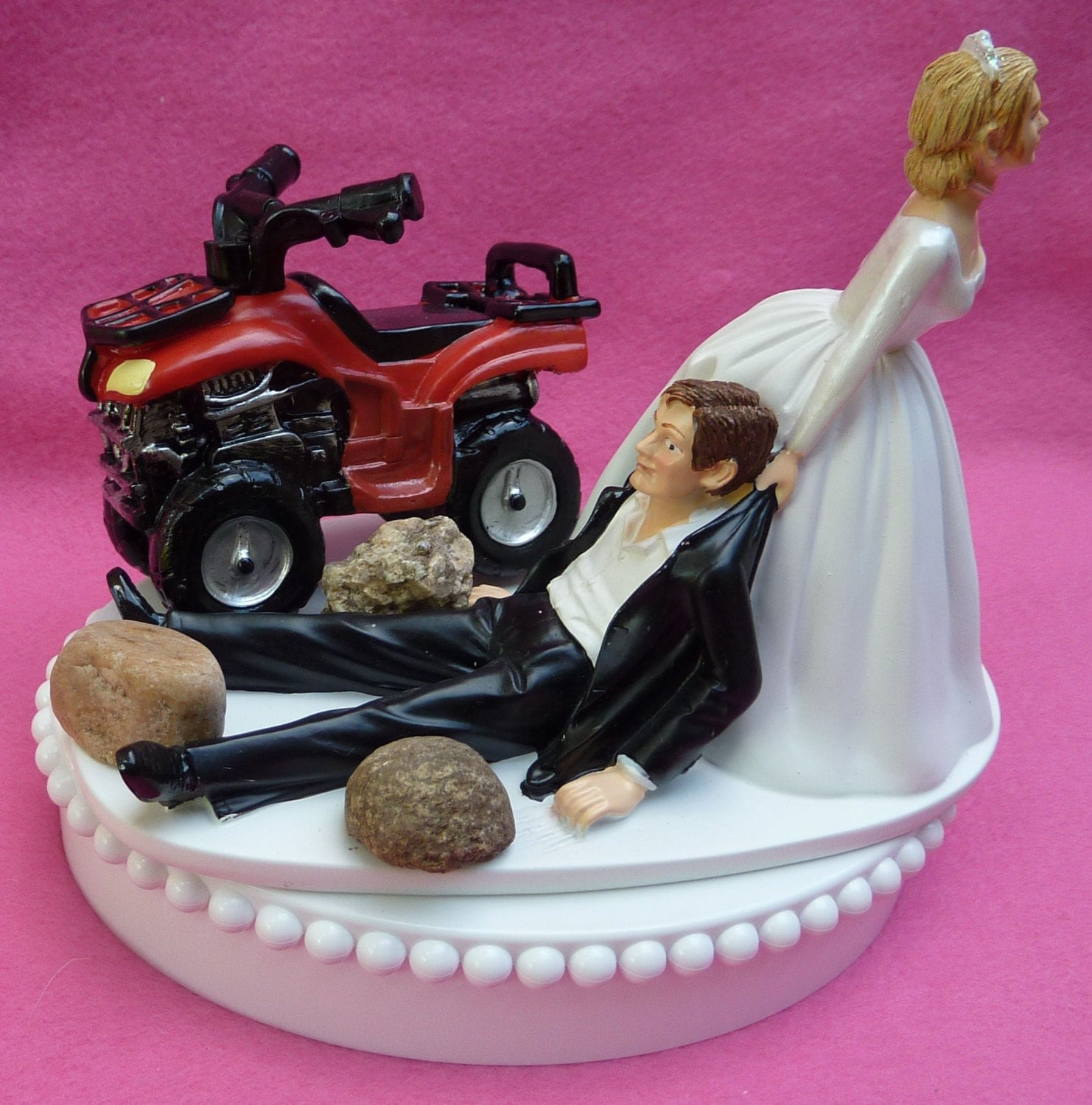 atv wedding cake topper wedding cake topper atv 4 wheeler w bridal garter road 10890