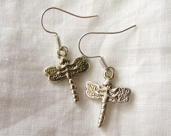 Silver Dragonfly Earrings (E36)