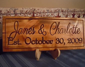 First Names Engraved Plaque Personalized Carved Wooden Wedding Gift Engagement Established Date Anniversary Housewarming Gift Pine SP35