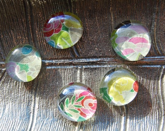 Pink Roses Glass Magnets - Set of 5