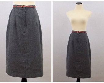 Grey Wool A Line Skirt - Size Small 60s Belted Skirt - Vintage 1960s Grey Past the Knee Skirt