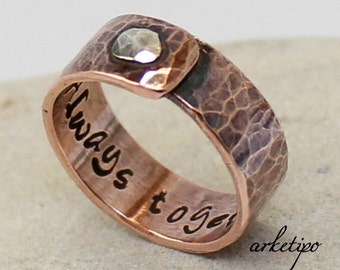 Personalized copper and sterling silver Ring.. Wedding Band.. Engraved Ring.. Men's / Women's