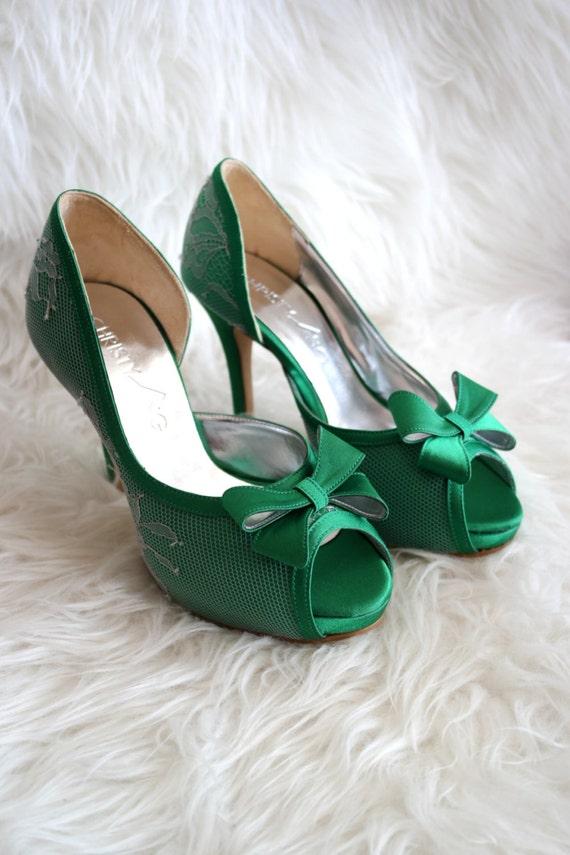 Custom Made Emerald Green Wedding Shoes