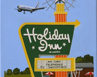 Mid Century Modern Eames Retro Limited Edition Print from Original Painting Holiday Inn Sign