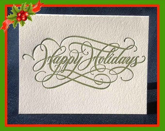 Happy Holidays Card Calligraphed and Letterpressed (Box of 10)