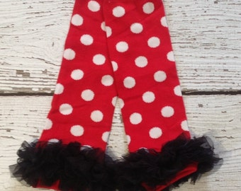 Minnie Mouse leg warmers, Red and white polka dot leg warmers, baby girl leg warmers, baby leg warmers, arm warmers -BL725
