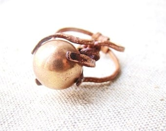 Unusual ring - abstract copper ring