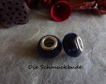 D-02311 - 2 European beads 13mm Lampwork handmade
