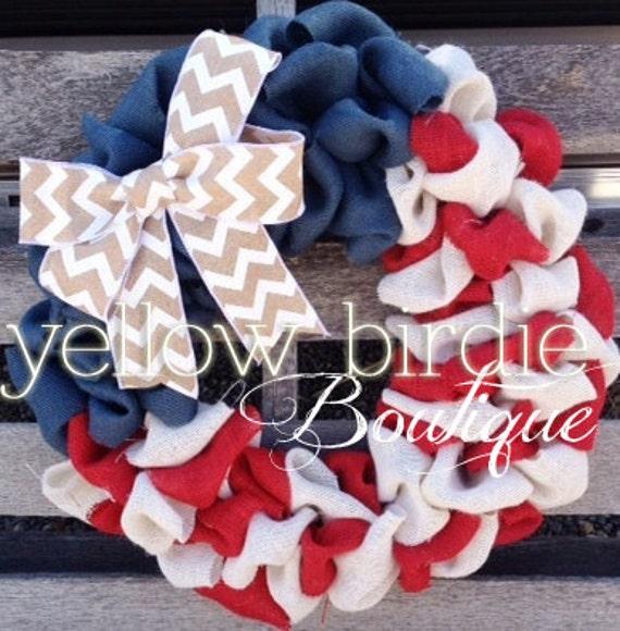Patriotic burlap wreath 4th of July by YellowBirdieBoutique