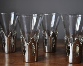 Mad Man Gorgeous set of Four Shot Glasses from the Fifties in Victorian Chrome Holders