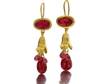 Passion Earrings - Chandelier Ruby Earrings - Gold Earrings - 18K Solid Gold Earrings - Seeds Collection - .Free Shipping!!!