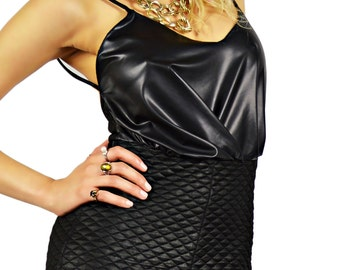 Black jumpsuit, All in one, Faux leather Jumpsuit