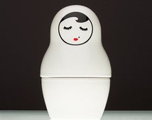 BABA Vera. Ceramic, white container. Can store anything. Great in kitchen, bedroom and everywhere! Ceramic, pretty matrioshka doll.