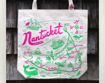 Nantucket Tote Bag Natural • Pink & Green
