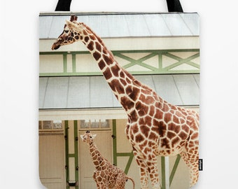 Giraffe Tote Bag, Animal Photography, Blue and Yellow, Wildlife, Animal Portrait Photography, Photography Accessory