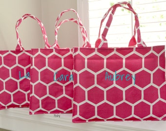 SALE...Personalized Bridesmaid Totes Wedding Gifts in Honeycomb Print in PInk Monogram