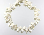 "50% OFF 16"" 7-16mm High Lustre White Keshi Petal Organic Shape Fresh Water Pearl Beads Necklace 001016"