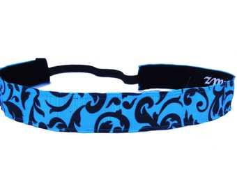 non slip headband Blue Damask
