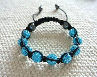 Handmade Shamballa Bracelet Aquamarine with Magnetite