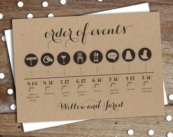 Custom Wedding Day Timeline - Order of Events - Digital Download