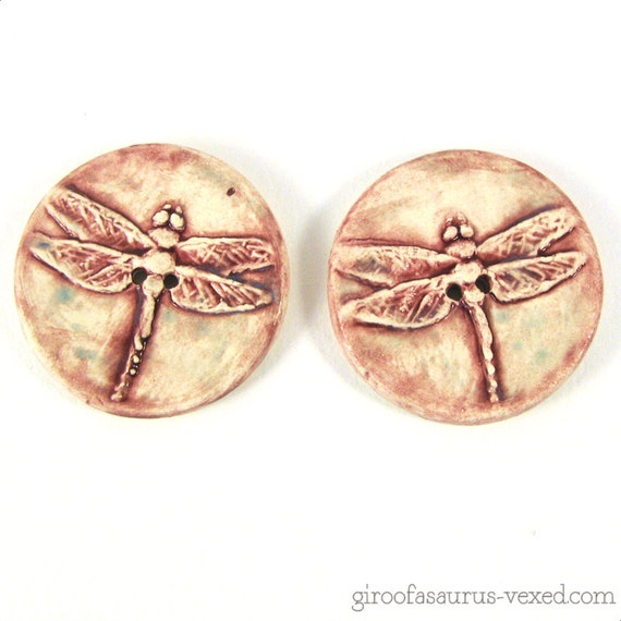 Dragonfly buttons by The Vexed Muddler on Etsy