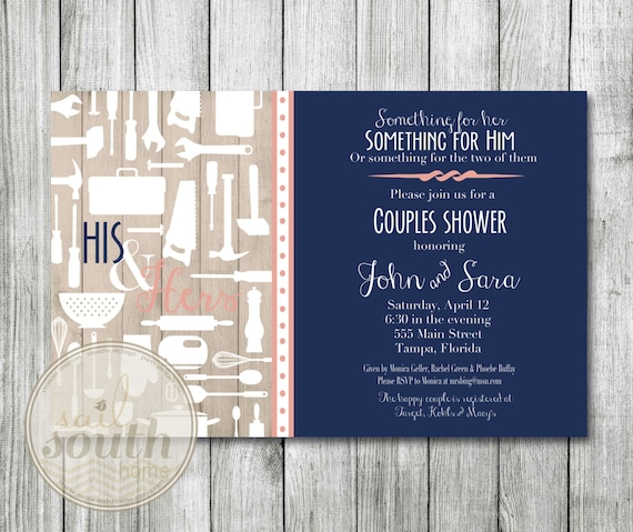 His And Her Wedding Shower Gifts : His and Her Wedding Shower Invitation -- Custom Couples Shower ...