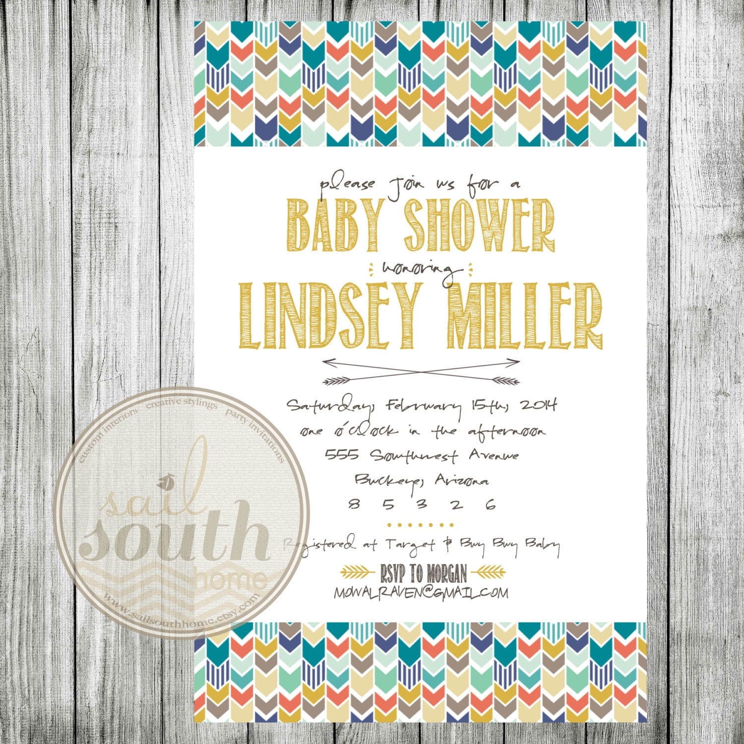 tribal baby shower invitation custom baby shower invitation
