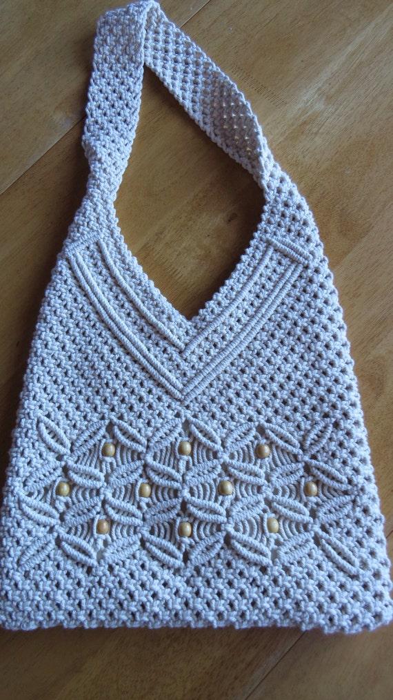 vintage macram 201 shoulder bag crocheted tote purse