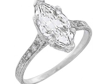 GIA Certified 1.40ct Diamond Antique Engagement Ring