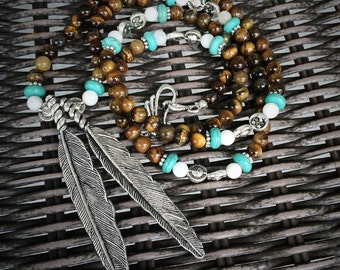 Native American Inspired Feather Necklace with Tiger Eye, Turquoise Howlite, Mother of Pearl for Protection & Healing