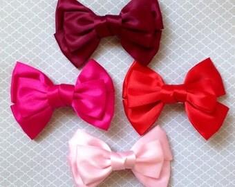 Satin Ribbon Hair Bows- PinUp