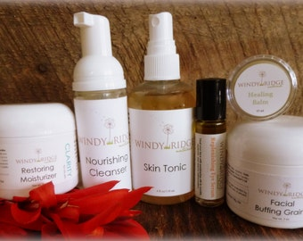 CLARITY Deluxe Essentials SKINCARE SET oily blemish prone skin. All Natural. by Windy Ridge Naturals