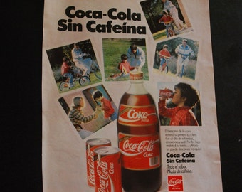 Vintage ads from 1970 - Coca Cola - Coke without caffeine - Retro ads - Spain