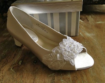 Custom Beaded Lace Flower Girl First Communion Shoe Baptism Confirmation Young Girls Formal Small Heel Open Toe Wedge