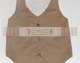 Ring Bearer Vest Infant Toddler Boys Sizes thru Youth 10 in TAUPE