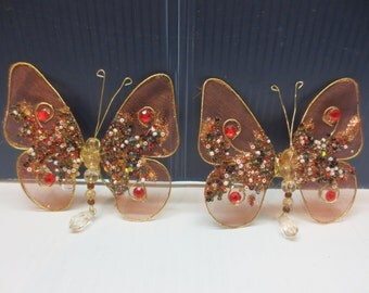 Beautifully Bedazzled Butterfly Pair to Hang in Your Window