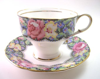Antique 1940's Paragon  Tea cup And Saucer, Paragon teacup set with flowers, English tea cup set, Needle point flower design .