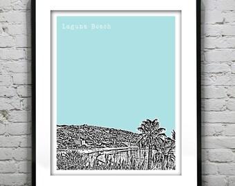 Laguna Beach California Poster Art Skyline Print CA Version 2