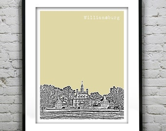 1 Day Only Sale 10% Off - Williamsburg Virginia Poster Art Skyline Print Colonial Williamsburg Governors Palace VA