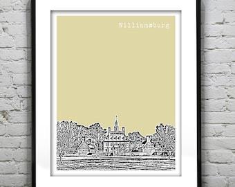 Williamsburg Virginia Poster Art Skyline Print Colonial Williamsburg Governors Palace VA