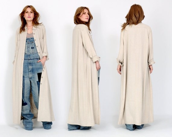 vintage 90s LINEN maxi Duster Jacket M beige by TinRoofVintage
