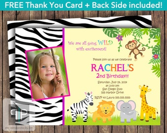 Jungle Birthday Invitation, Printable Girl Jungle Photo Birthday Invitation, Safari Girl Photo Invite, Zoo Girl Photo Invite, Jungle Invite