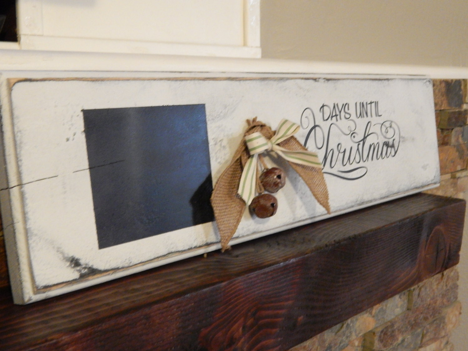 Rustic Christmas Countdown Sign Chalkboard Distressed Vinyl