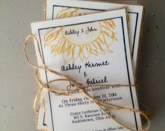 Rustic Sunflower Wedding invitations  with burlap black and white wedding invitation, -50