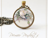 Vintage Rose Flower Necklace Pendant Jewelry Image Pink White 0153AGC