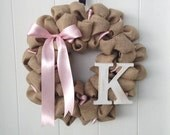 Shabby Chic Pink and White Burlap wreath with distressed initial
